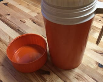 Vintage orange thermos soup or coffee pitcher