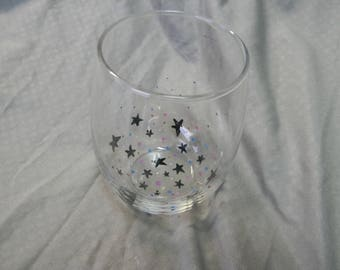 Starry Night Galaxy Hand Painted Stemless Wine Glass