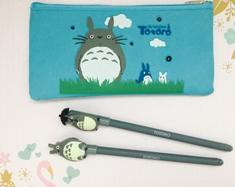 Kawaii totoro  pencil case and two cute totoro pens/ totoro stationery set/