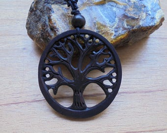 Tree of Life Wood Pendant, Wood Necklace, Wood Carving Jewelry  SM