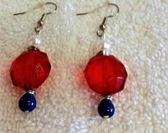 Now Novelty Earrings, Red, White & Blue Beaded Pierced Earrings, Adult--NEW