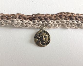 Choker: Sun and Moon, Brown and Beige
