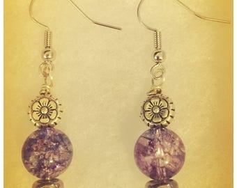 Zella design Purple glass bead earrings