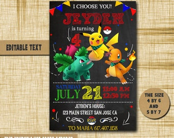 Pokemon Invitation,Pokemon Birthday,Pokemon Birthday Invitation,Pokemon PDF editable text,Pokemon party,invitation Pokemon,Invitation