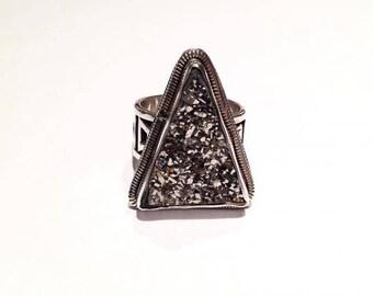 Sterling Silver, Titanium Druzy Ring