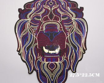 Big Purple Lion King Patch, Lion Embroidery Design,Lion Embroidery Applique,Lion Embroidery  Pattern,Embellishment,Lion Embroidered Patch,