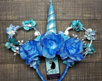 Blue Unicorn Floral Mickey Mouse ears with LED changing color lights