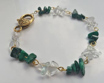 White Crystal Quartz and Malachite chips handmade bracelet