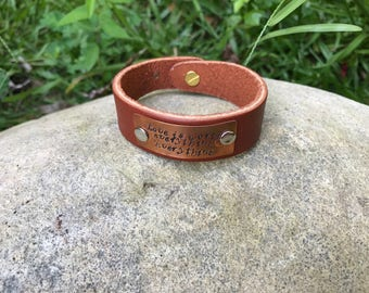 Love is Worth Eveyrthing. Everything. Leather & Copper Cuff