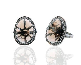 Diamond Ring with Smoky stone