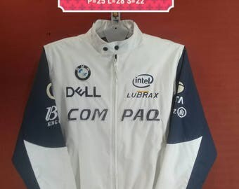 Vintage BMW Sauber F1 Jacket F1 Team Jacket Spellout Embroide Sweater White Blue Cross Colour Size 3XL Adidas Windbreaker Nike Windbreaker