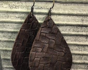 Dark brown basket weave leather earrings