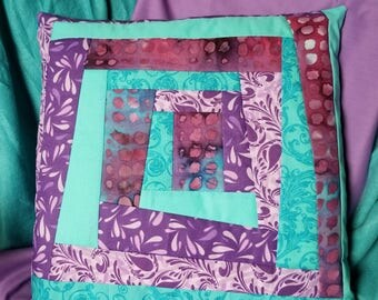Turquoise and Purple Throw Pillow