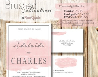 Wedding Invitation Download - Brushed Collection in Rose Quartz