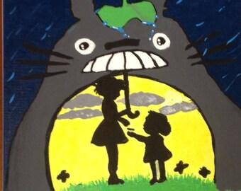 9 x 12 inch My Neighbor Totoro Acrylic Painting