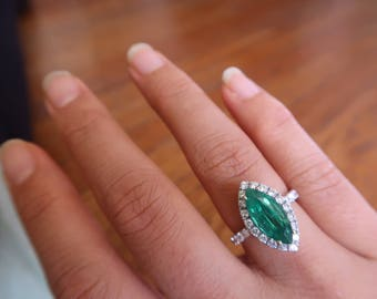 Vintage Natural Emerald Ring | Emerald Engagement Ring | Diamond Filigree 18K Gold Engagement Ring