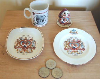 FOUR Souvenirs of the WEDDING of DIANA and Charles 1981 with 3  Commemorative  Wedding Coins