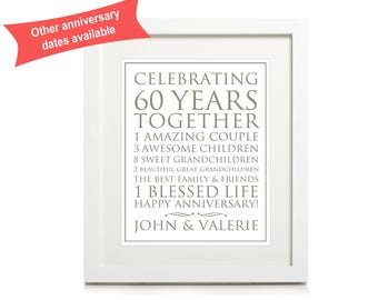 60th Anniversary Personalised Print