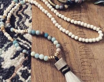 Beaded AMAZONITE Necklace with Antler Horsehair Tassel
