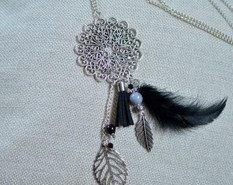 Floral necklace, feather, tassels, filigree flower, leaf charms