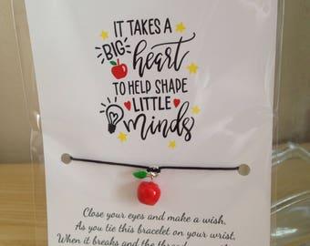 Teacher themed wish bracelet