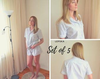 Set of 5 Striped Pajama Sets for Bridesmaids, Cotton Pajamas Set, Women's Pajamas