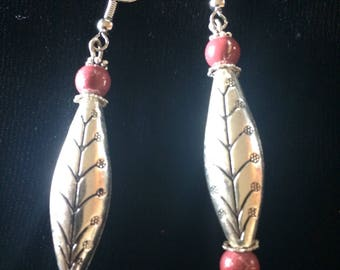 Silver and Rose drop earrings silver plated drop  is 2-1/4""