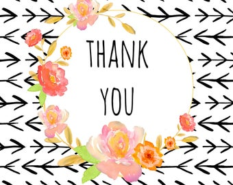 Coral Floral Thank You Cards [8 pack]