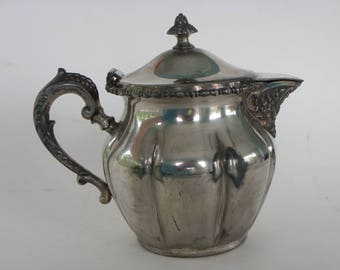 Vintage Silverplate Covered Cream Pitcher-E G Webster #667-Hinged Lid-Ornate Spout-S Mono-Pre-1960