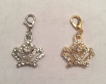New rhinestone silver and gold crown charm zipper pull