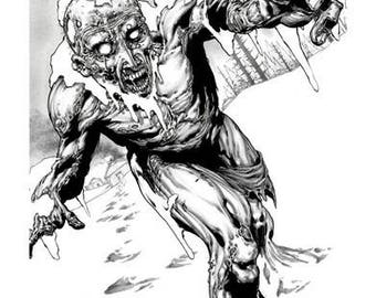 Ibraim Roberson, Zombie, Zombie Survival Guide, Max Brooks, Limited Edition, Print, Art, Giclee, Signed