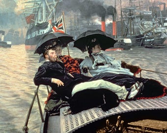 On the Thames Painting by James Tissot Art Reproduction
