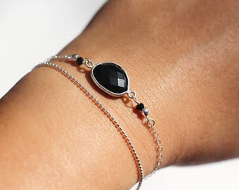 Bracelet double twist, silver chain 925 Sterling and black onyx stone