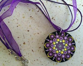 Hand painted mandala necklace