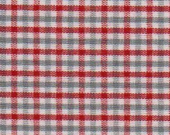 Red and Gray Check Fabric by Fabric Finders - 100% Cotton
