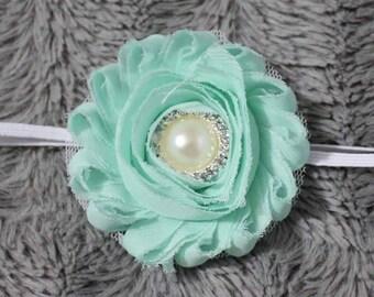 flower on white elastic headband