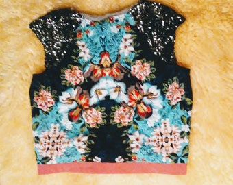 SALE!! Floral Exotic Sparkly Crop Top