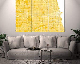 Chicago Illinois / City Map / Canvas Print / Wall Art / Large 3, 5 or 6 panel