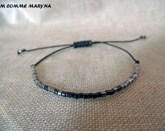Miyuki Delica black, dark gray and silver adjustable Friendship Bracelet boho chic Bohemian Bohostyle minimalism