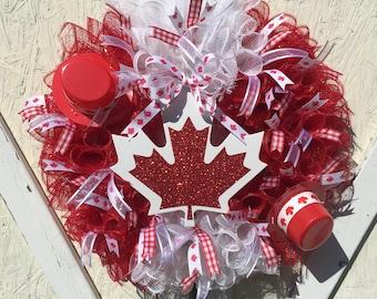 Canada Day Wreath Deco Mesh Wreath Red & White Wreath Front Door Wreath