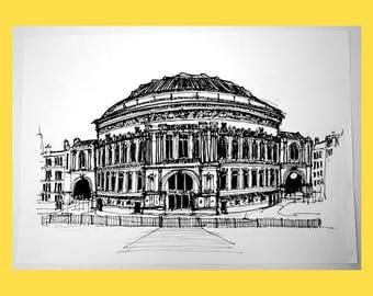 Royal Albert Hall - Original Signed Illustration by Keith Browning
