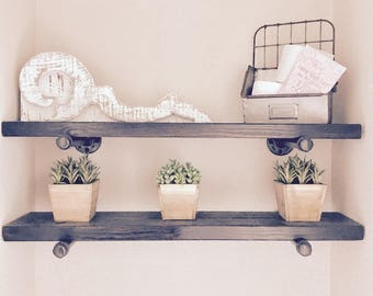 """Industrial Floating Wood and Pipe shelves, 6"""" Deep"""