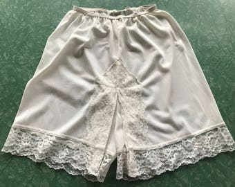 White Nylon and Lace Bloomers