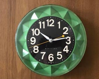 Green Mid Century Geometric Westclox Wall Clock