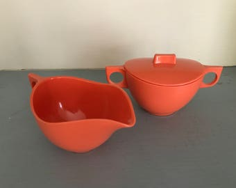 Melmac Plastic Creamer and Sugar Set in Orange