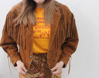 80s fringe suede jacket