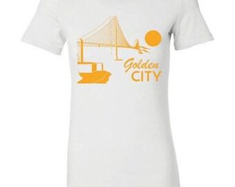 Golden City, Golden Gate, San Francisco Women T-Shirt White