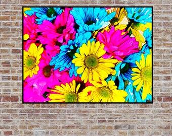"Colorful Daisies Digital Art, Instant Digital Download, Wall Art - Print 8.5"" x 11"""