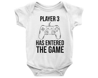 Player 3 has Entered the Game Onesie, Player 3 has Entered the Game Bodysuit, Gamer Onesie, Baby Shower Gift, Pregnancy announcement