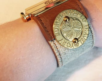 Vintage Tory Burch Brown Leather and Jute Cuff